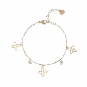 Bransoletka lilie, kryształki, złoty S1V72184-Z