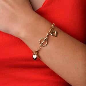 Bransoletka serce, łańcuch, złoty S1V71937-Z