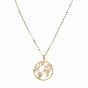 Naszyjnik mapa świata, kolor złoty S3V71252-Z