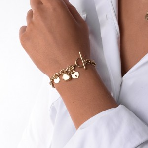 Bransoletka łańcuch, serce, złoty S1V71659-Z