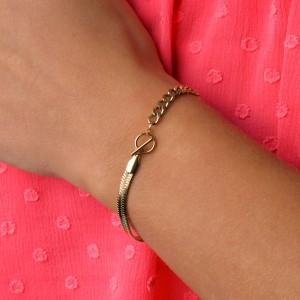 Bransoletka żmijka, łańcuch, złoty S1V72040-Z