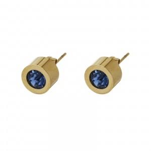 Kolczyki kryształek, niebieski, złoty S2V71649-4Z