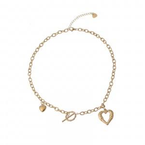 Naszyjnik serce, łańcuch, złoty S3V72097-Z