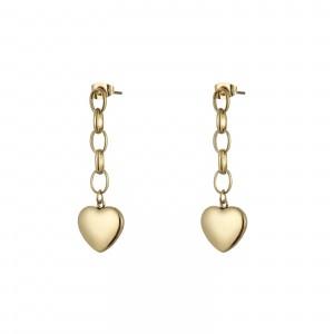 Kolczyki serce, łańcuch, złoty S2V71641-Z