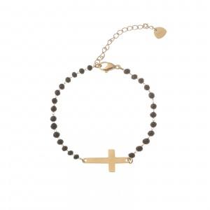Bransoletka kryształki, krzyż, czarny S1V72144-3Z