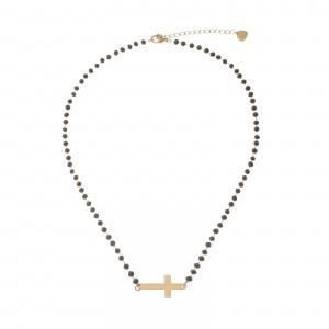 Naszyjnik kryształki, krzyż, czarny S3V72212-3Z