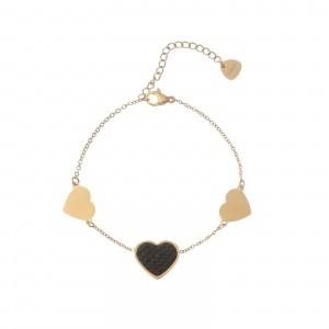 Bransoletka serca, kryształki, złoty S1V72135-Z