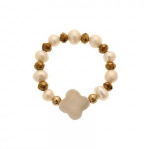 Pierścionek perełki, złoty, kryształki S4V70363-Z