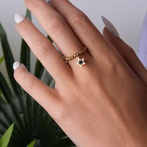Pierścionek elastyczny, gwiazdka, złoty S4V70476-Z
