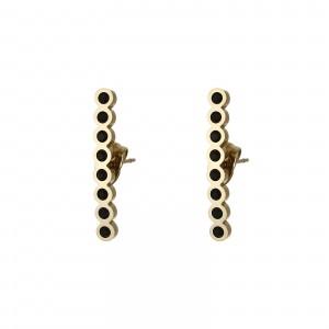 Kolczyki kryształki, czarny, złoty S2V71638-2Z
