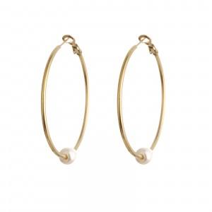 Kolczyki duże koła, perła, złoty (5cm) S2V71493-3Z