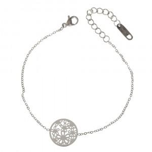 Bransoletka kółko, kwiatki, srebny S1H70028-S