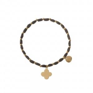Bransoletka koniczynka, złoty, czarny S1V71995-2Z