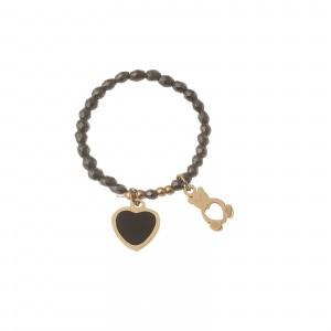 Pierścionek serce, miś, złoty, szary S4V70372-2Z