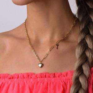 Naszyjnik serce, łańcuch, złoty S3V72289-Z