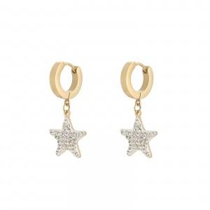 Kolczyki gwiazdka, kryształki, złoty S2V71588-2Z
