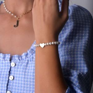 Bransoletka perły, serce, złoty, biały S1V71911-Z