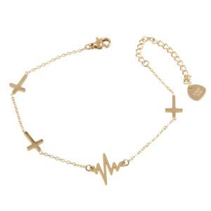 Bransoletka krzyżyki, linia życia,złoty S1V71610-Z