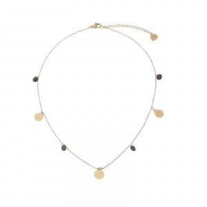 Naszyjnik kółeczka, kryształki, złoty S3V72193-3Z