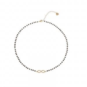 Naszyjnik złota nieskończoność, czarny S3V72210-Z