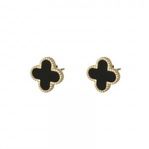 Kolczyki koniczyny, czarny, złoty S2V71632-Z