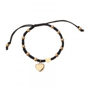 Bransoletka serce, sznurek, czarny S1V71873-1Z