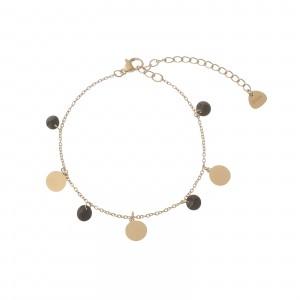 Bransoletka kółka, kryształki, złoty S1V72129-3Z