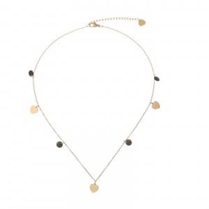 Naszyjnik złote serduszka, kryształki S3V72193-2Z