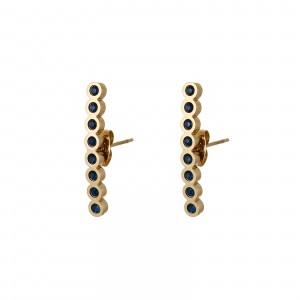 Kolczyki kryształki, granatowy, złoty S2V71638-7Z