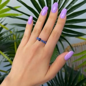 Pierścionek kryształki, niebieski,złoty S4V70405-Z
