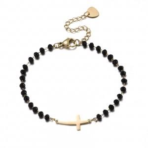 Bransoletka kryształki, krzyż, czarny S1V71632-Z
