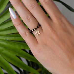 Pierścionek elastyczny, gwiazdka, złoty S4V70475-Z