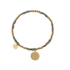 Bransoletka krzyżyk, złoty, zielony S1V72028-3Z