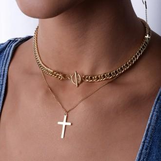 Naszyjnik łańcuch, krzyż, złoty S3V71324-Z