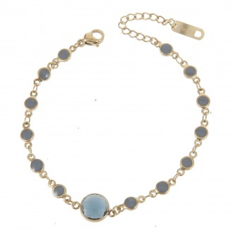 Bransoletka kryształek, złoty 103874-2-ZK