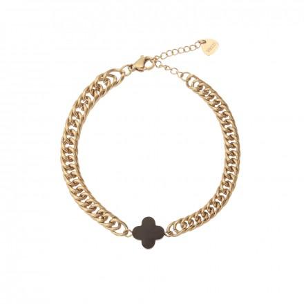 Bransoletka łańcuch, koniczynka, złoty S1V71918-2Z