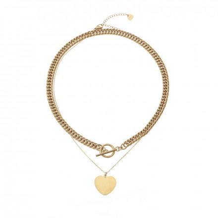 Naszyjnik łańcuch, serce, kolor złoty S3V71324-2Z