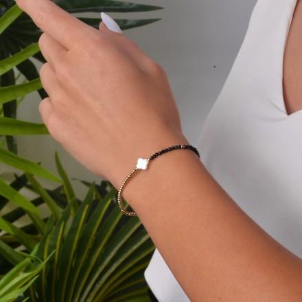 Bransoletka koniczynka, złoty, czarny S1V71872-1Z