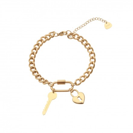 Bransoletka łańcuch, klucz, serce,złoty S1V71818-Z