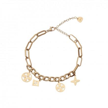 Bransoletka lilie, łańcuch, złoty S1V72023-Z