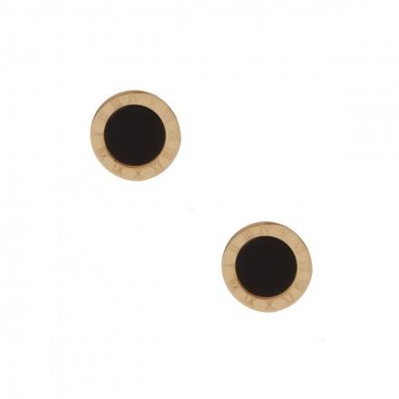 Kolczyki kółko, czarny, złoty S2V71329-Z